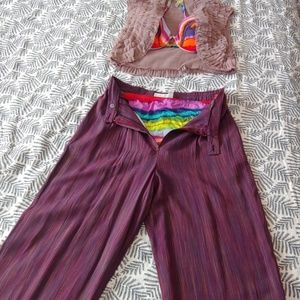 Purple rainbow stripe trousers